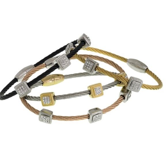 Jewelry - Square Pavé Station Twisted Cable Bracelet, NWT
